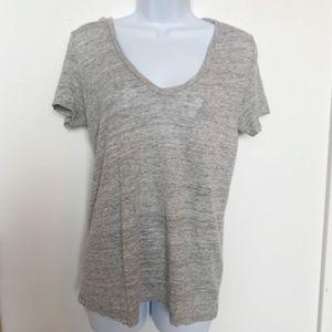 J. CREW XS 100% Linen V Neck Top Shirt - Grey